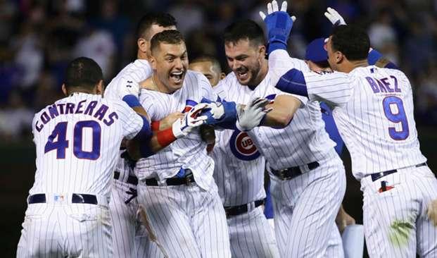 Albert Almora Jr. and Cubs celebrate