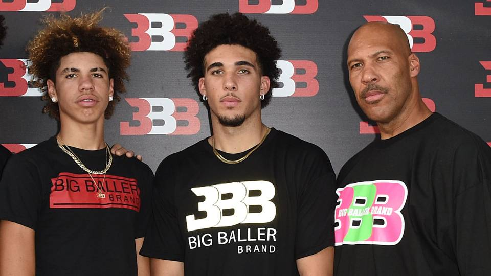 LaMelo (left), LiAngelo (center) and LaVar Ball