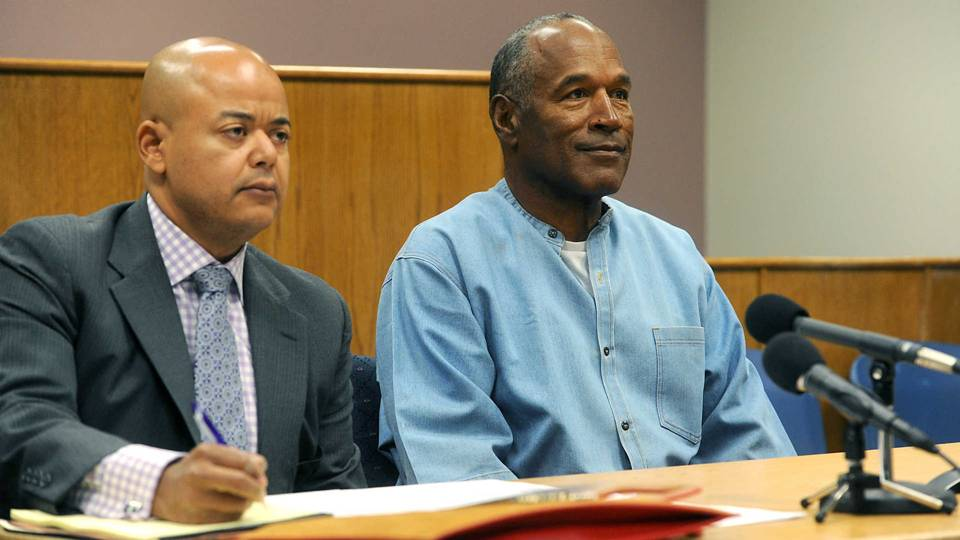 O.J. Simpson at his parole hearing