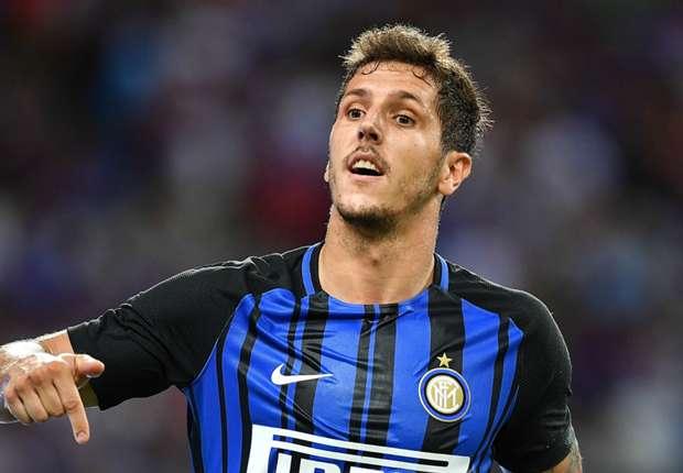 Inter forward Stevan Jovetic celebrates a goal against Chelsea