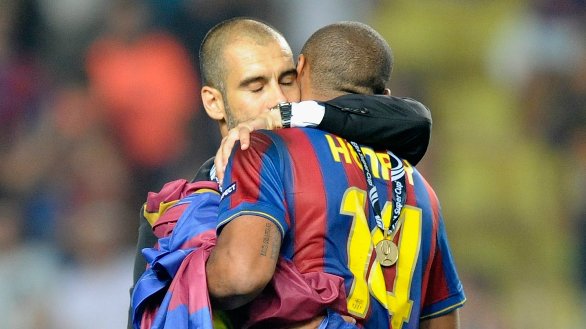 Pep Guardiola and Thierry Henry
