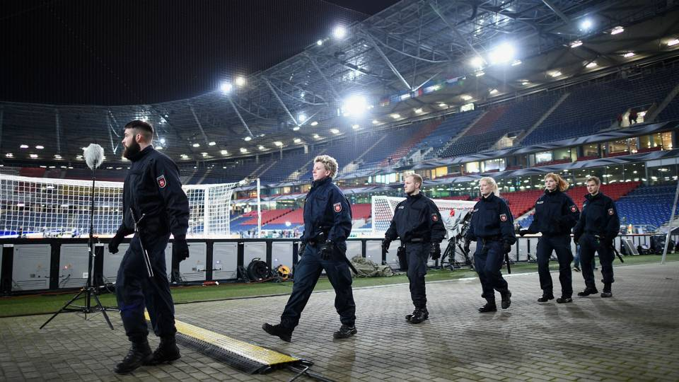Police inside Hannover stadium