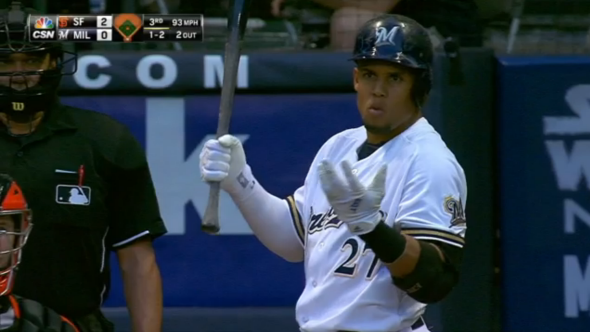 Carlos Gomez upset with Madison Bumgarner's glare: 'He's not my dad'