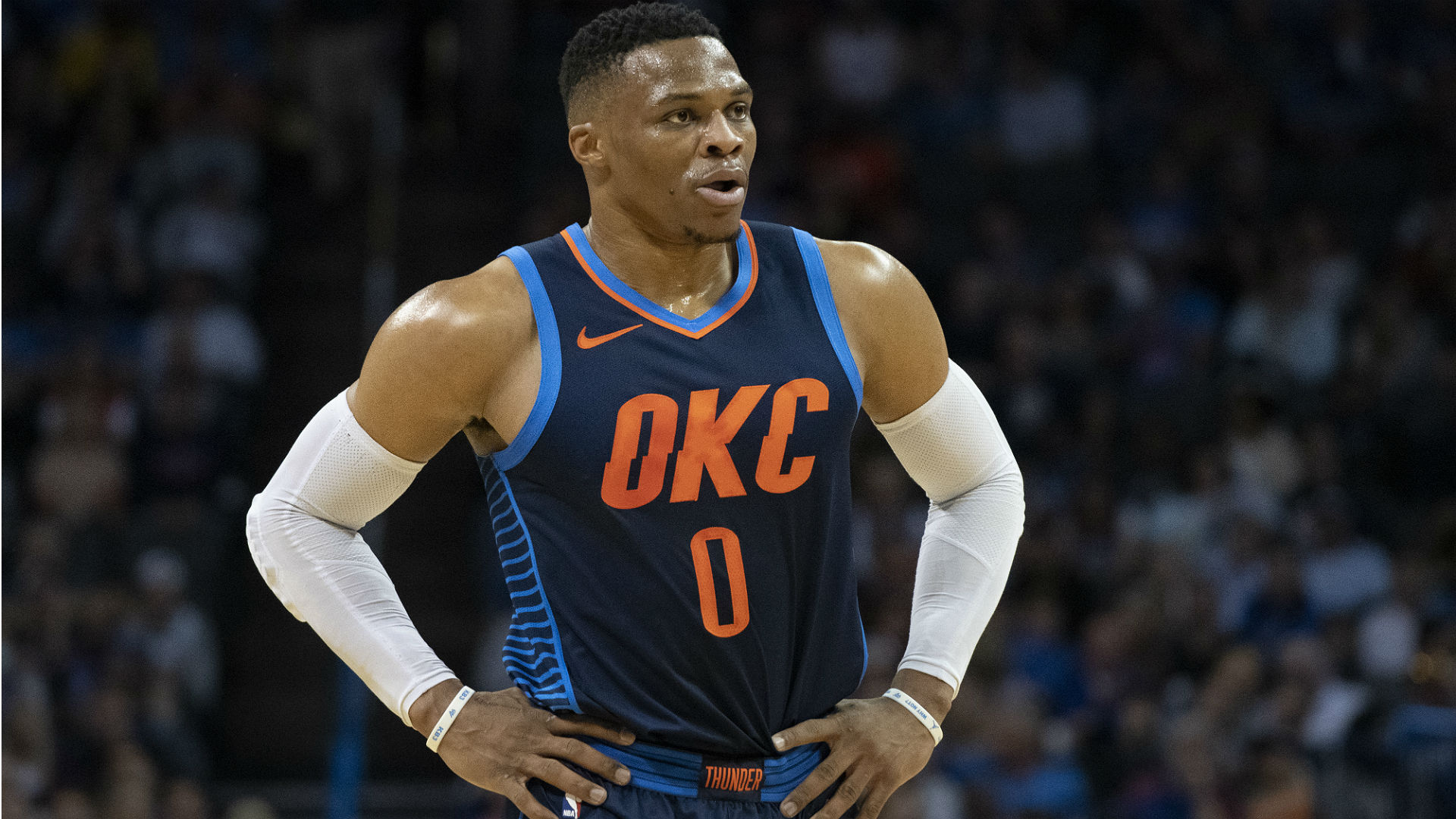 Westbrook hurts ankle, exits game