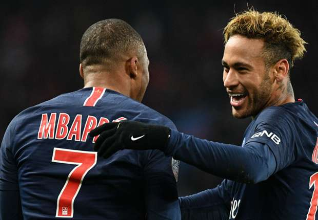 Kylian Mbappe and Neymar celebrate against Lille