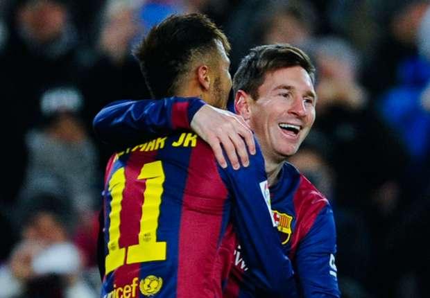 Neymar (l.) und Messi waren beim Barca-Sieg erfolgreich
