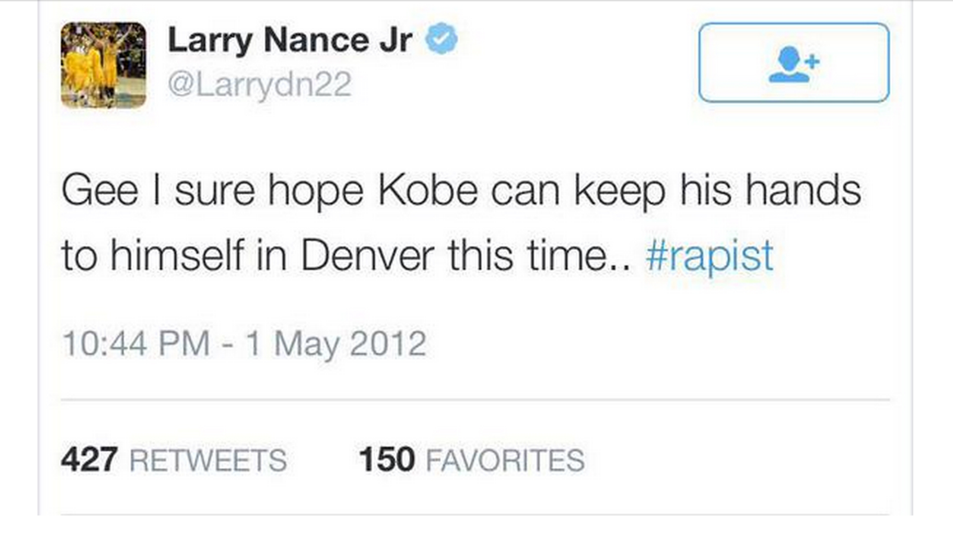 Larry Nance was 'terrified' what Kobe might say about 'rapist' tweet