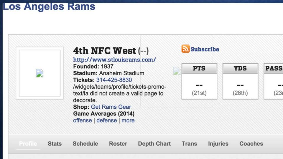 Nfl S Official Website Has Interesting Los Angeles Rams Page