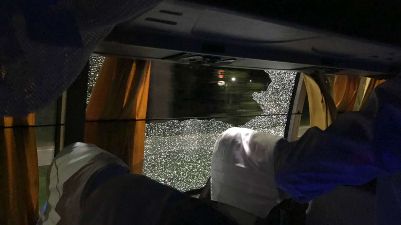 Australia bus window smashed by rock, says Finch