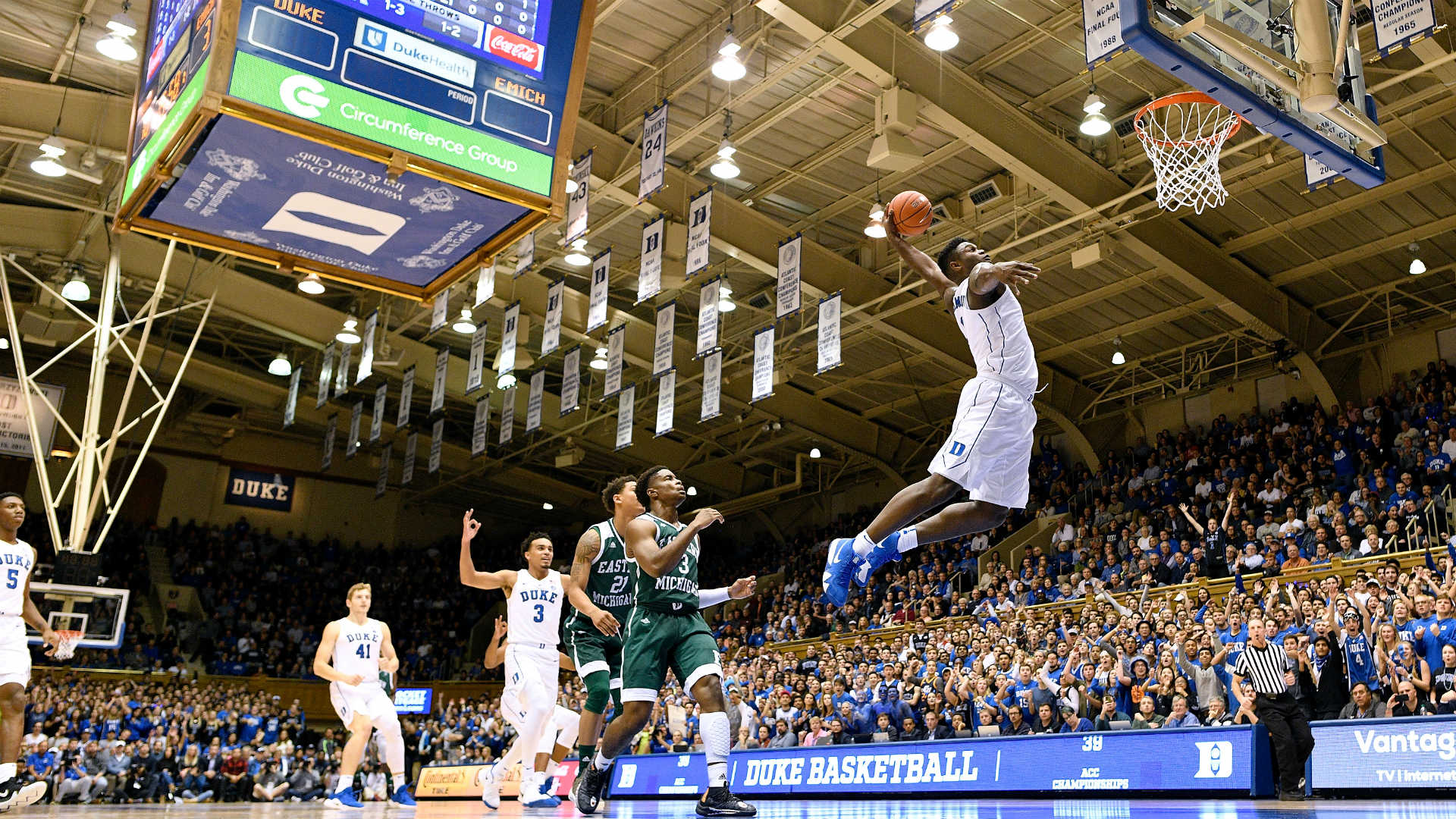 WATCH: Duke's Zion Williamson continues to dunk it all