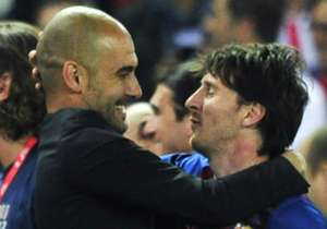 Pep Guardiola and Lionel Messi at Barcelona