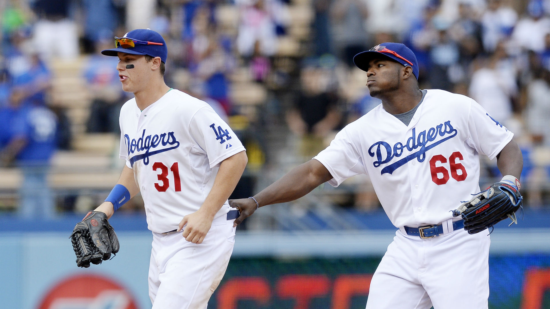 Yasiel Puig, Joc Pederson Collide Full Speed in the Outfield