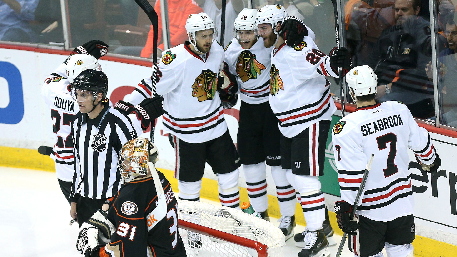 Chicago Blackhawks celebrate a goal