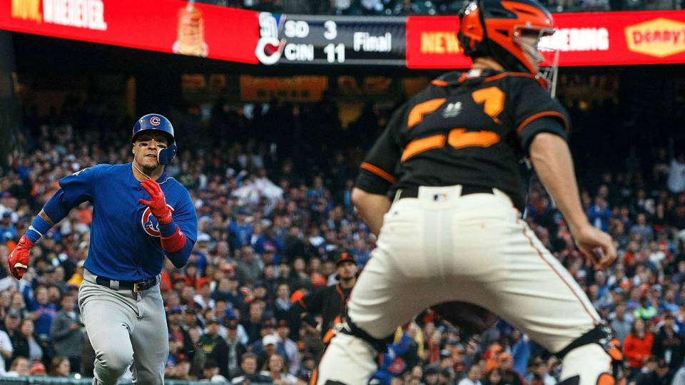 Cubs Javier Baez Hits Inside The Park Home Run Against Giants
