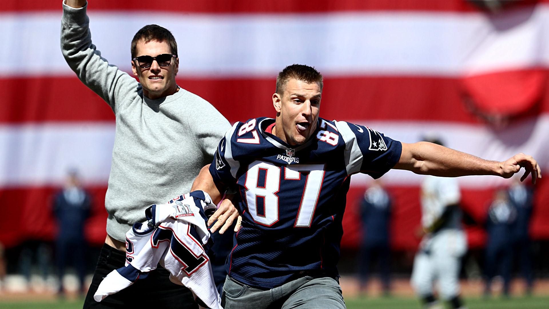 gronk steals tom brady's jersey