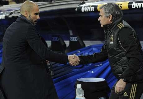 Guardiola schudt Mourinho's hand