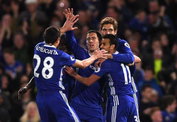 Eden Hazard celebrates scoring against Manchester City