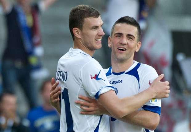 Bosnia-Herzegovina strikers Edin Dzeko and Vedad Ibisevic