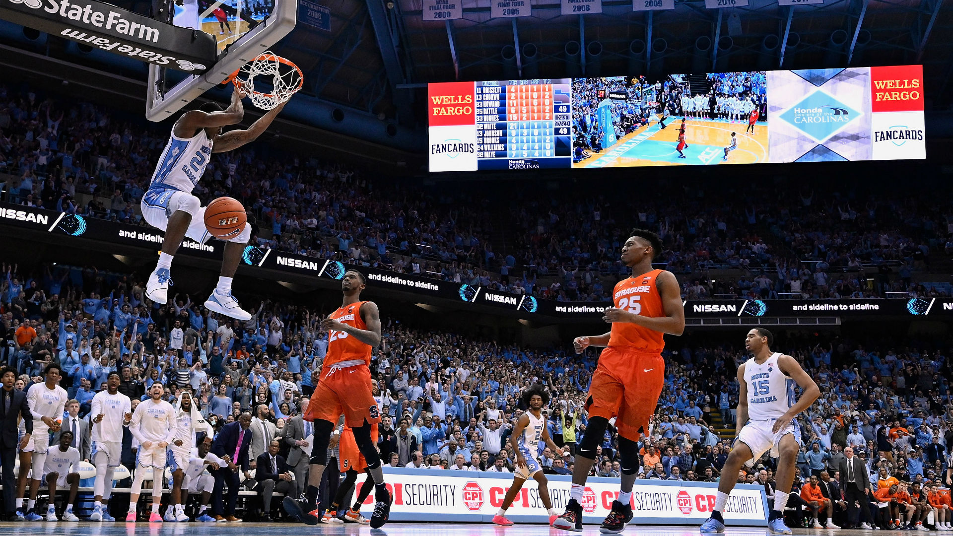 White's 34 helps No. 5 North Carolina beat Syracuse 93-85