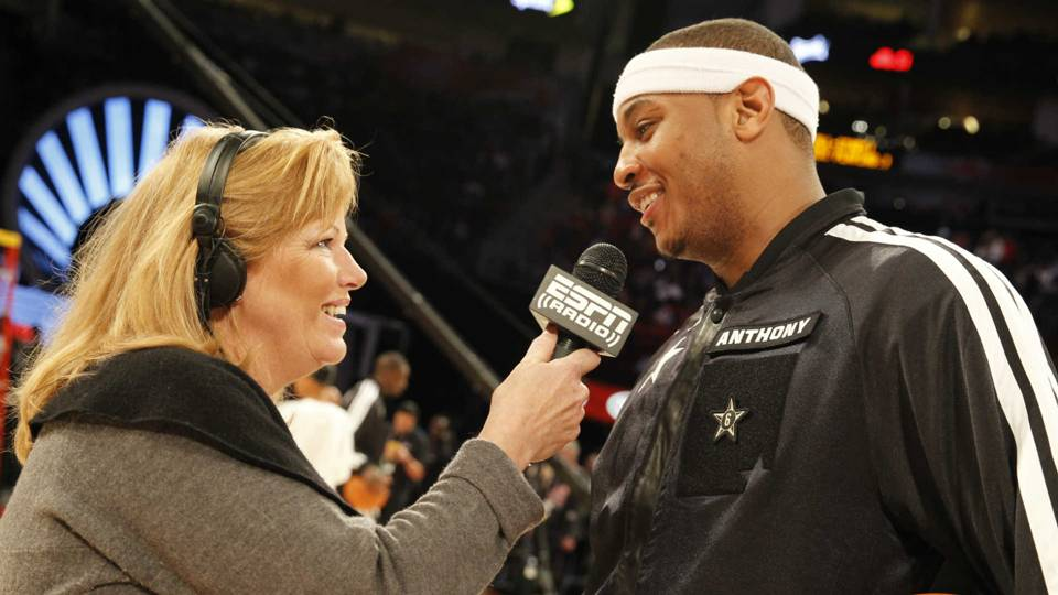 Shelley Smith with Carmelo Anthony