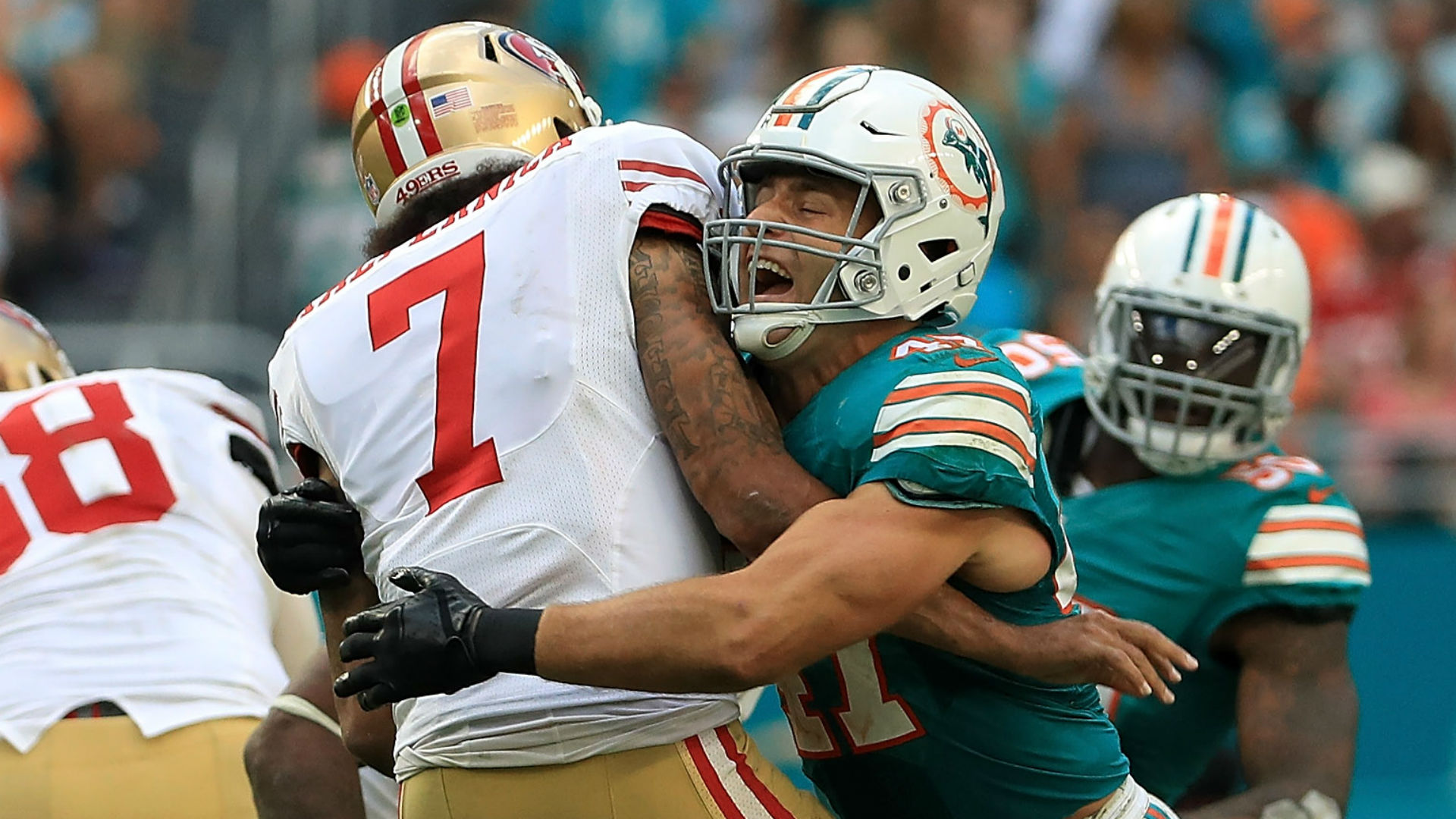 Dolphins destroy Colin Kaepernick on game-winning goal line stand