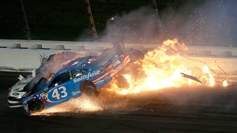 Audio from Aric Almirola\'s fiery crash at Kansas released | NASCAR ...