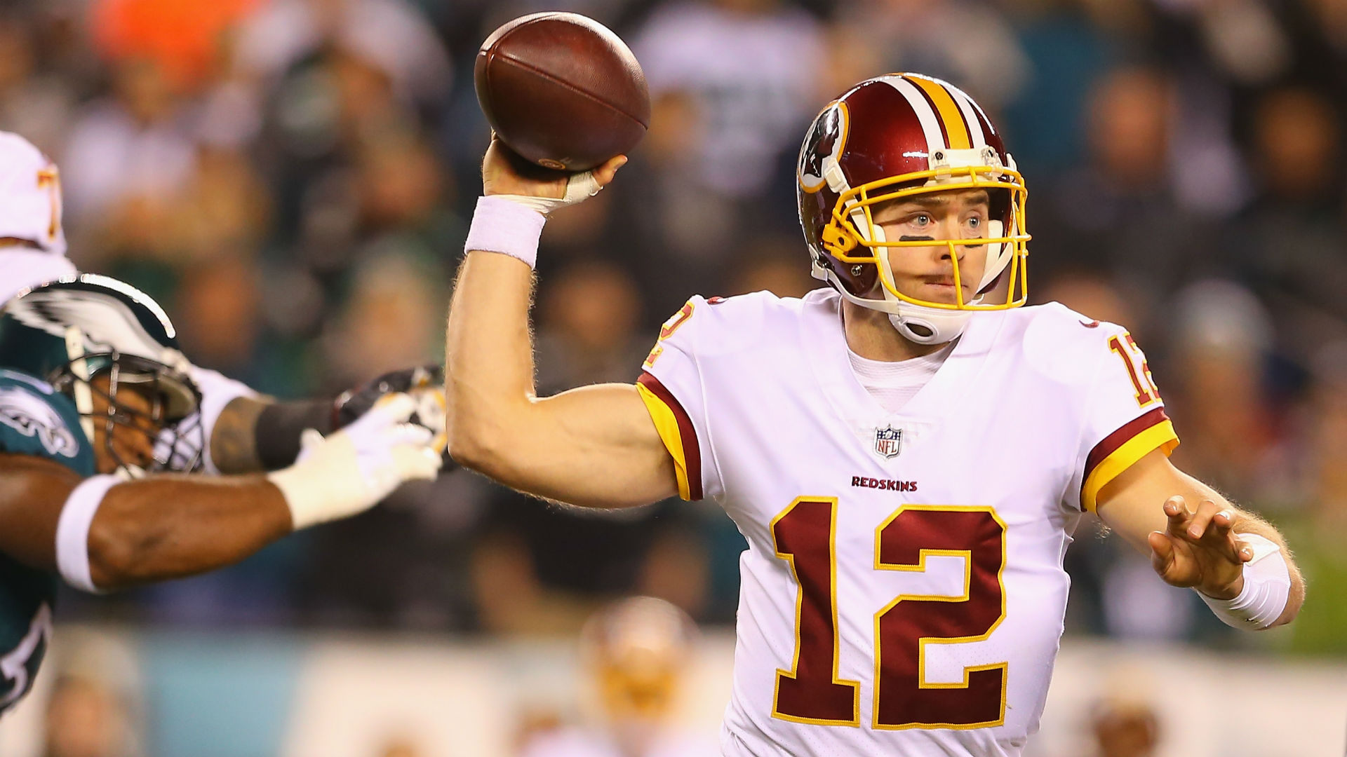 Colt McCoy Completed Two Passes After He Broke His Leg