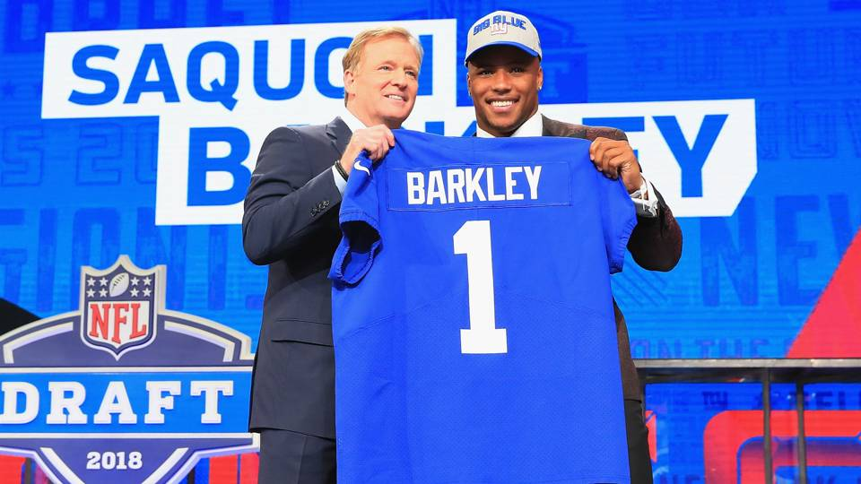 97a1e2d2c NFL Draft 2018  Saquon Barkley s jersey reportedly best-selling in draft  history through first round