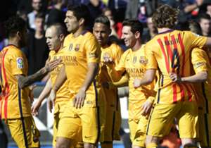 Barcelona celebrate their opening goal against Levante