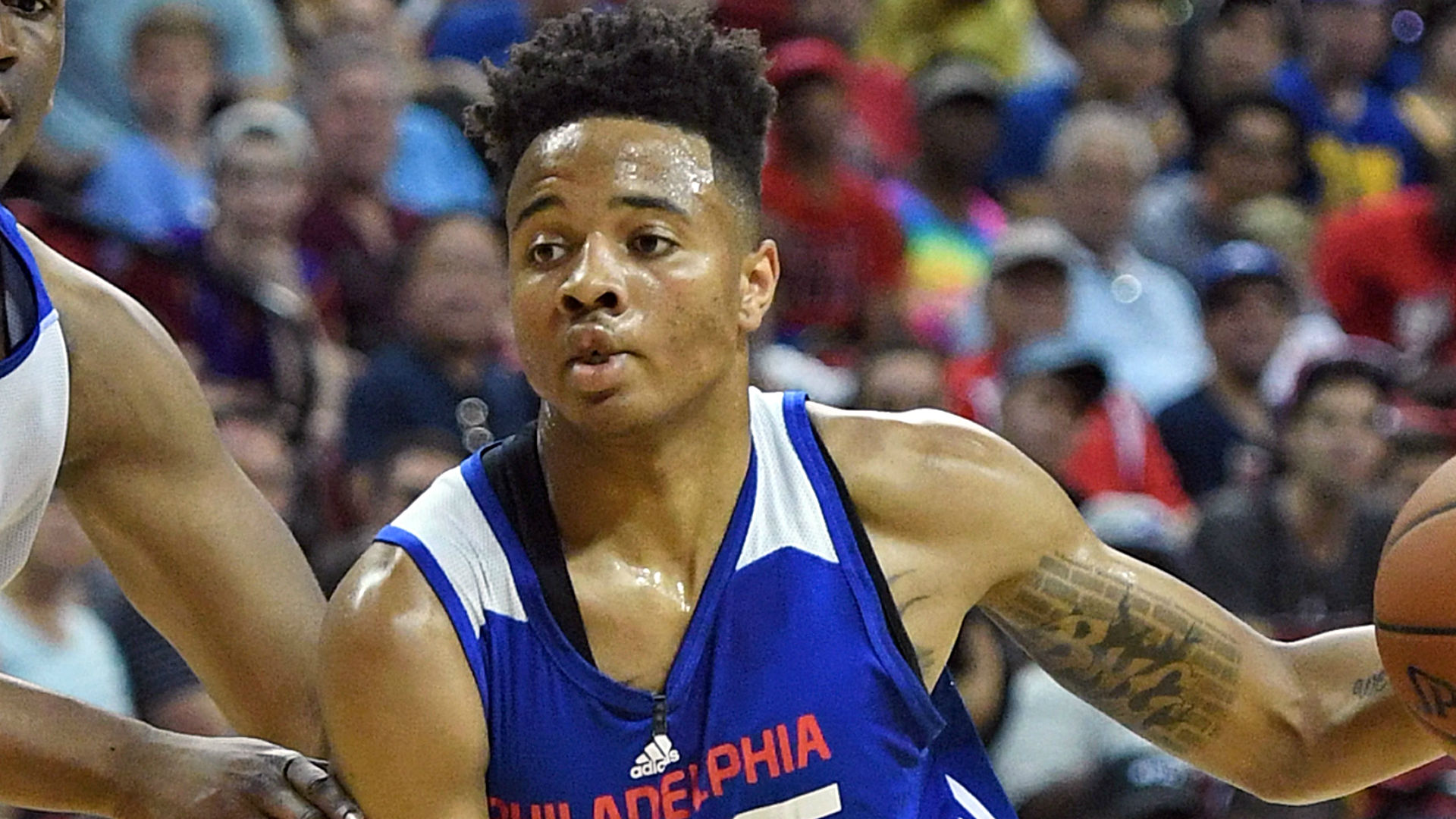 Sixers rookie Markelle Fultz helped off floor after rolling ankle