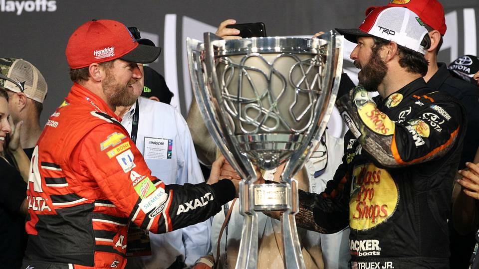 Dale Earnhardt Jr. congratulates Martin Truex Jr.