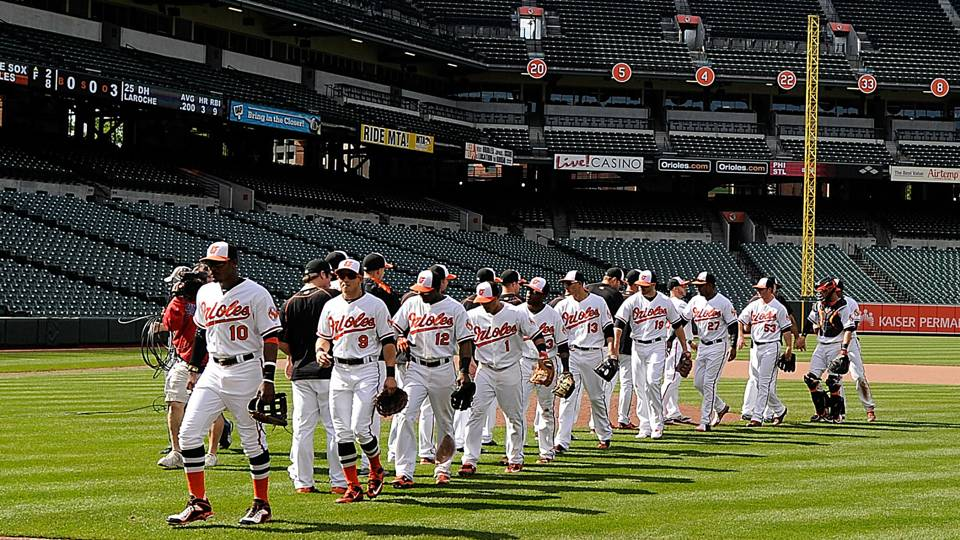 Orioles play in front of zero fans