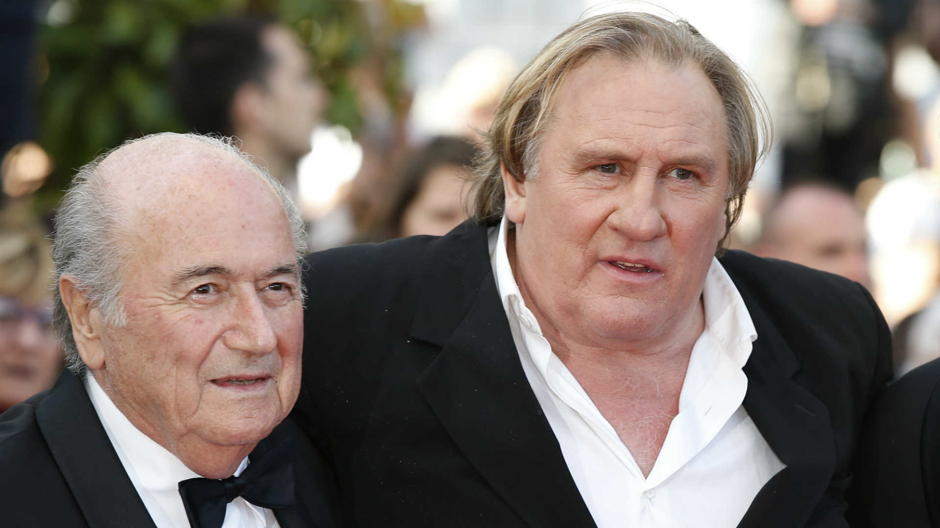 Sepp Blatter, left, and Gerard Depardieu