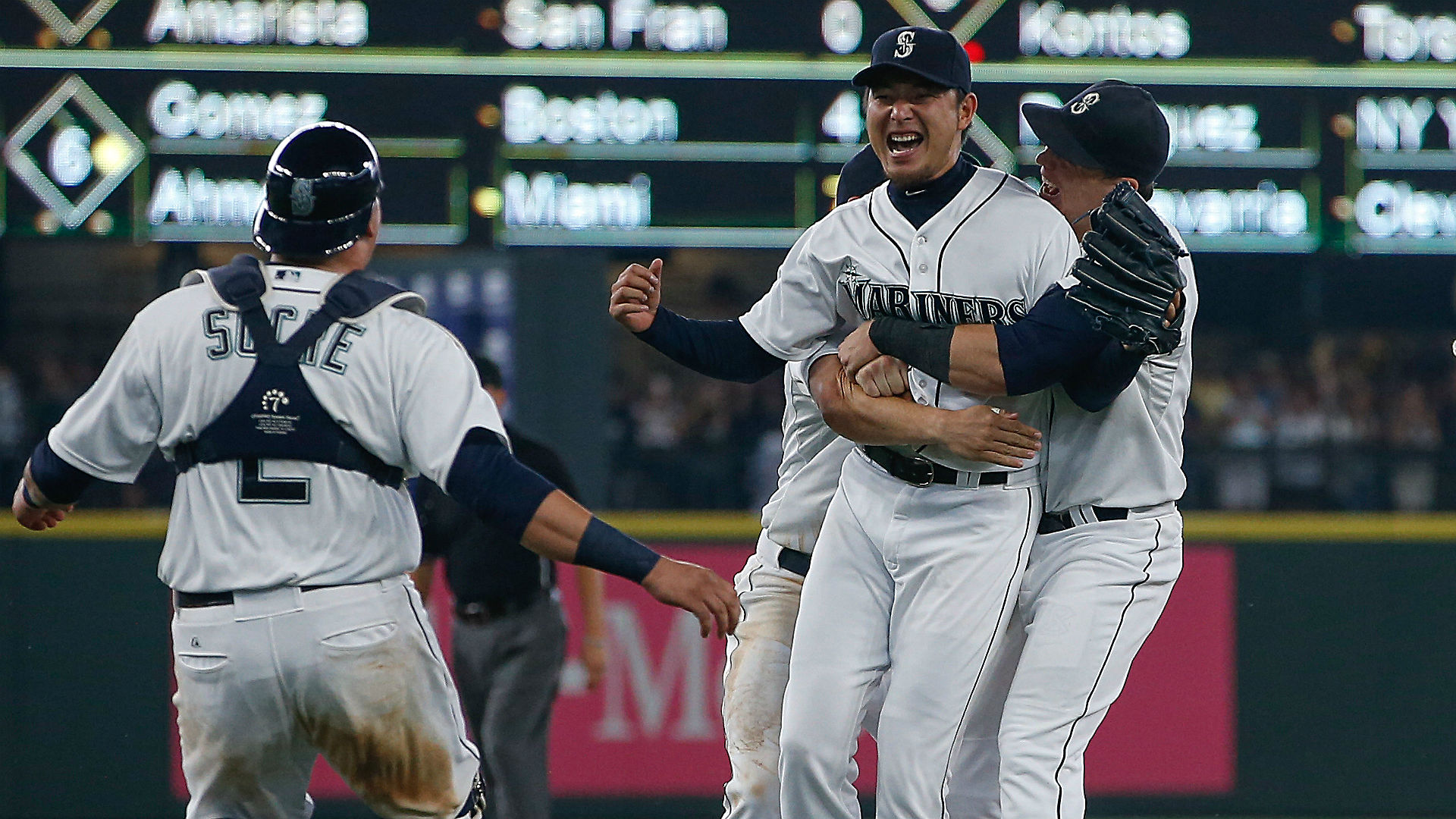 Hisashi Iwakuma celebrates after throwing no-hitter