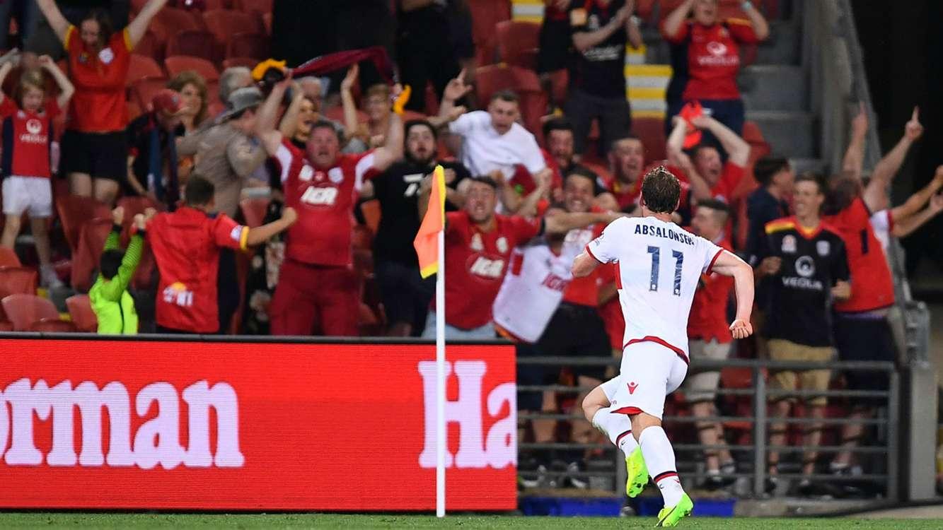 Brisbane Roar 1 Adelaide United 2: Kitto & Absalonsen strike late to stun hosts