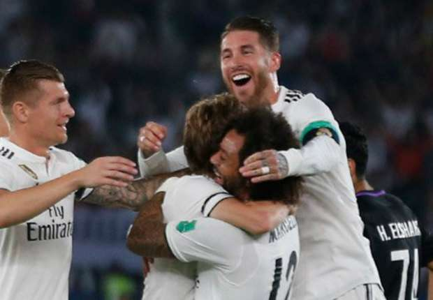 Real Madrid celebrate Luka Modric's goal in the Club World Cup final