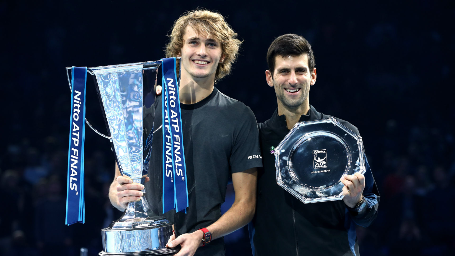 Alexander Zverev and Novak Djokovic at the 2018 ATP Finals