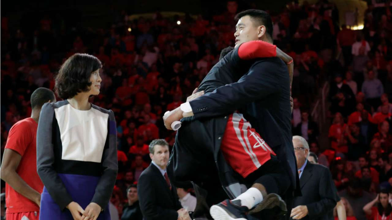 Harden drops 42 on yao ming s jersey retirement night sportal new