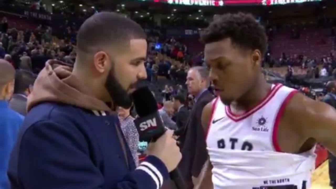 Drake yuks it up as Raptors courtside reporter