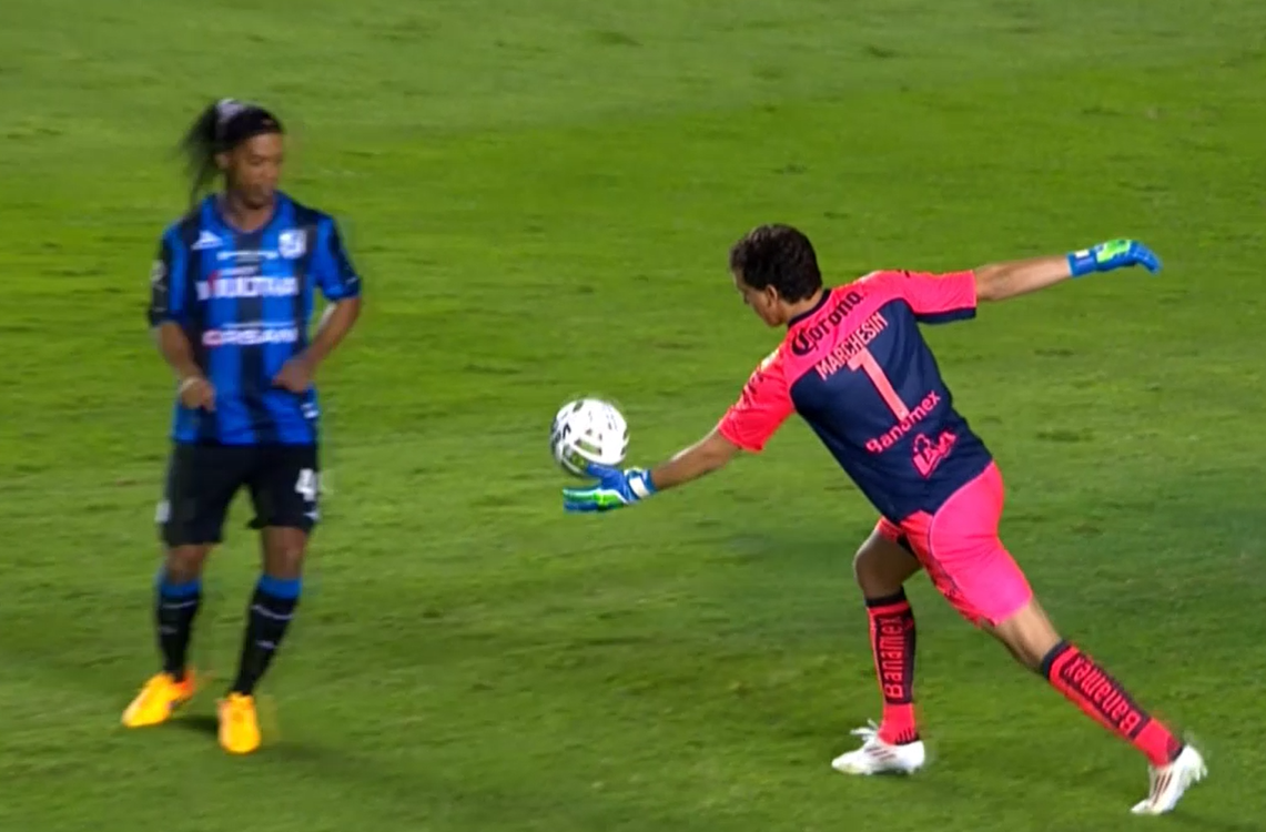 Video: Cheeky Ronaldinho steals ball from goalkeeper, scores disallowed goal