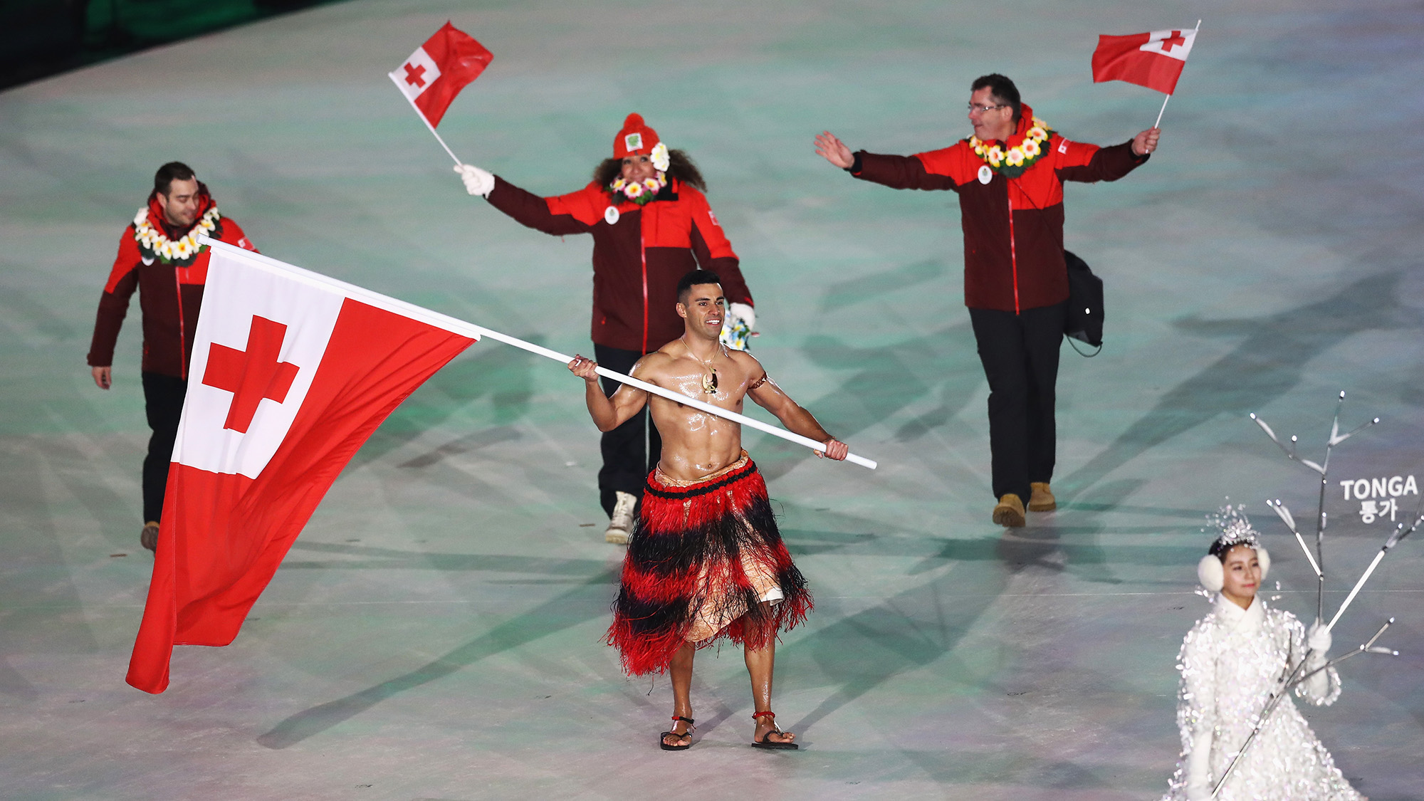 Tonga's shirtless flag bearer returns in PyeongChang