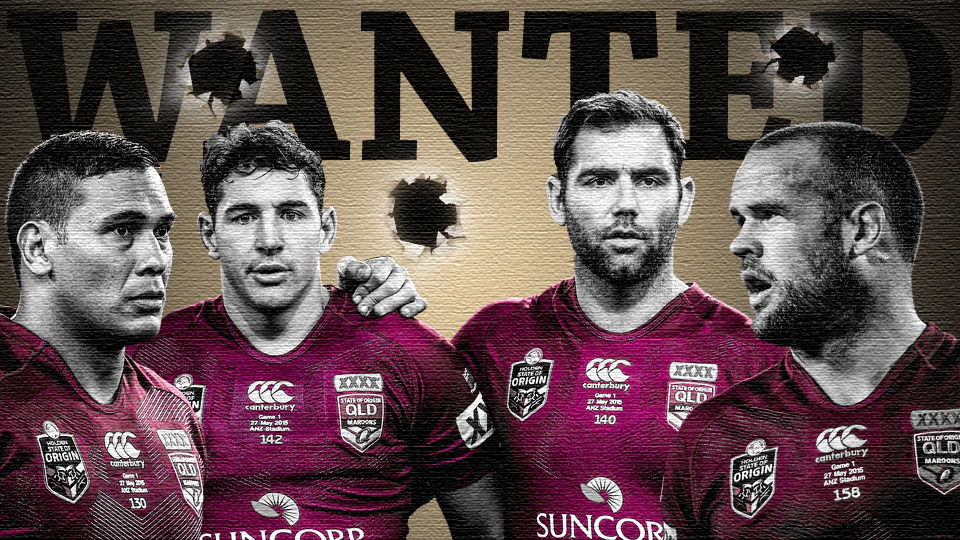 Wanted.  Queensland State of Origin. Justin Hodges, Billy Slater, Cameron Smith and Nate Myles.