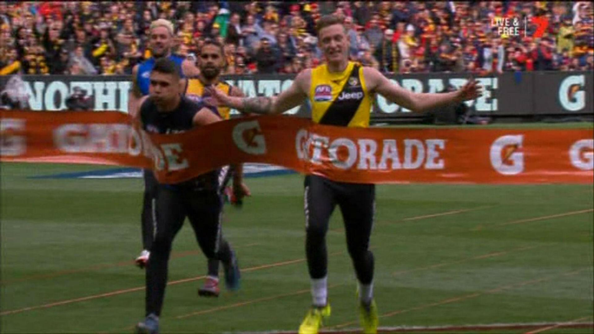 WATCH: Richmond's Connor Menadue wins AFL Grand Final sprint   AFL   Sporting News