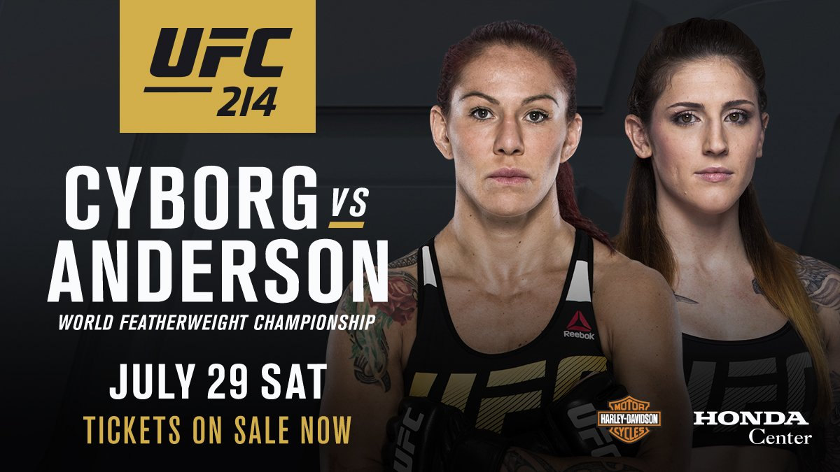 Cris Cyborg reacts to Megan Anderson being forced off of UFC 214