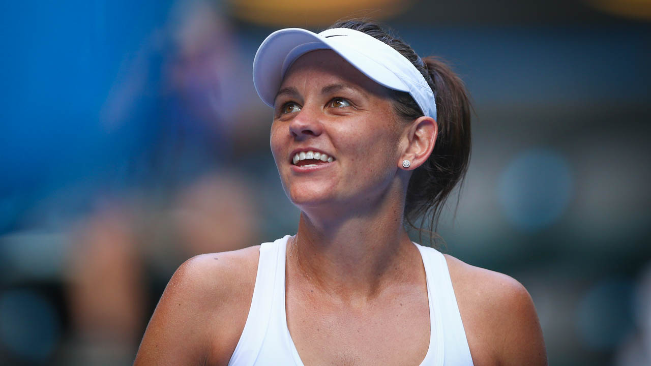 Casey Dellacqua of Australia celebrates winning her third round match against during day five of the Australian Open. Jan 17 2014