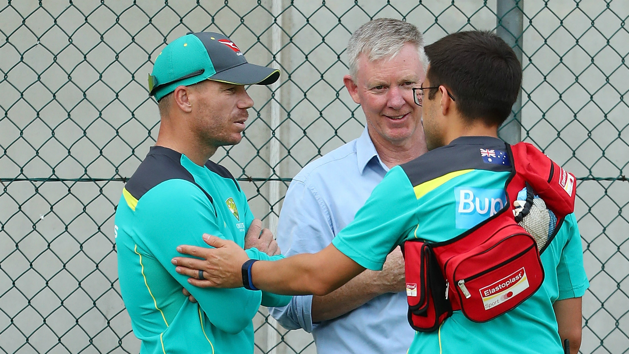 David Warner injures neck at Australian training ahead of first Ashes test