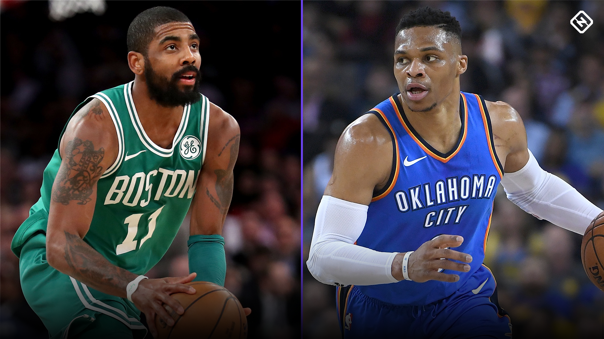 Celtics guard Kyrie Irving and Thunder guard Russell Westbrook