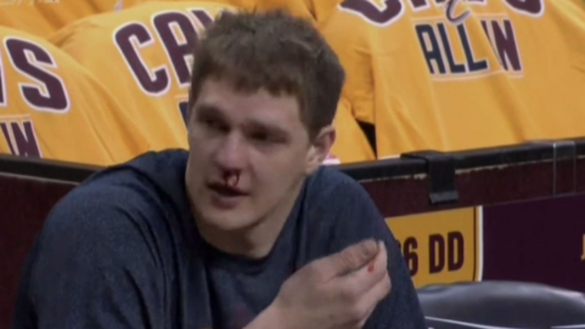 Tristan Thompson gives teammate Timofey Mozgov bloody nose after vicious dunk