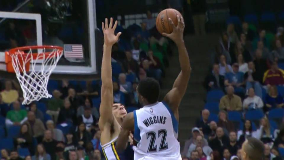 andrew wiggins dunks all over rudy gobert not once but