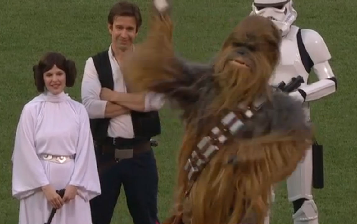Watch Chewbacca throw out the first pitch at Red Sox game